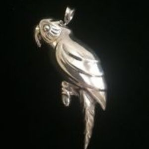 Jewelry - Vintage Sterling Silver Parrot Pendant Brooch